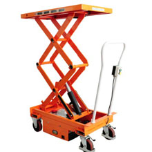 电动升降平台车_0.3-1吨重型半电动升降平台_武汉中明工业设备